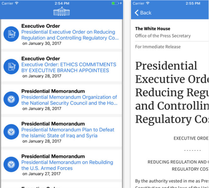 presidential-actions-app-iphone
